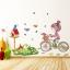 """สติ๊กเกอร์ติดผนัง สำหรับห้องเด็ก """"Girl and Bike จักรยาน"""" ความสูง 80 cm ความกว้าง 120 cm thumbnail 1"""