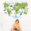 """สติ๊กเกอร์ติดผนัง สำหรับห้องเด็ก """"แผนที่ Green World Map"""" ความสูง 80 cm กว้าง 120 cm thumbnail 1"""