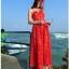 Jingjing เดรสลูกไม้ สายเดี่ยว กระโปรงยาว สีแดง thumbnail 10