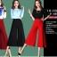 กางเกงขากว้าง กางเกงขหญิง สีแดง เอวยางยืด thumbnail 2
