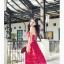 Jingjing เดรสลูกไม้ สายเดี่ยว กระโปรงยาว สีแดง thumbnail 3