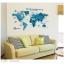 """สติ๊กเกอร์ติดผนังตกแต่งห้อง """"แผนที่โลก Around the World สีฟ้า"""" ความสูง 55 cm กว้าง 100 cm thumbnail 3"""
