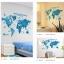 """สติ๊กเกอร์ติดผนังตกแต่งห้อง """"แผนที่โลก Around the World สีฟ้า"""" ความสูง 55 cm กว้าง 100 cm thumbnail 4"""
