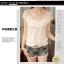 เสื้อแฟชั่นเกาหลีคอวีเสื้อแขนสั้นสีขาวเสื้อลูกไม้ thumbnail 2