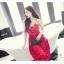 Jingjing เดรสลูกไม้ สายเดี่ยว กระโปรงยาว สีแดง thumbnail 4
