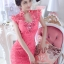 Jingjing ชุดราตรี ลูกไม้ สีชมพูบานเย็น ประดับเพชร ชุดเข้ารูป thumbnail 1