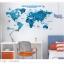 """สติ๊กเกอร์ติดผนังตกแต่งห้อง """"แผนที่โลก Around the World สีฟ้า"""" ความสูง 55 cm กว้าง 100 cm thumbnail 2"""
