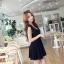 เดรสเกาหลี แขนใบบัว สีดำ thumbnail 4