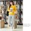 เสื้อกันหนาวลายนกฮู๊ก คอกลม เขียว เหลือง เทา thumbnail 3