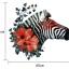 """สติ๊กเกอร์ติดผนังตกแต่งบ้าน """"ม้าลาย Zebra and Red Flower"""" ความสูง 62 m ยาว 65 cm thumbnail 4"""