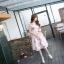 เดรสแฟชั่นเกาหลี สีชมพูแขนกุด ผูกโบว์เอว หวานๆ thumbnail 2