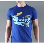 เสื้อผ้าผู้ชาย สีน้ำเงิน - เสื้อยืดแฟชั่นผู้ชาย ลาย Always Wing