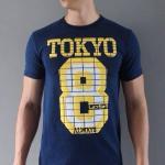 เสื้อผ้าผู้ชาย สีกรมท่า - เสื้อยืดแฟชั่นผู้ชาย ลาย TOKYO 8