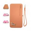 กระเป๋าใส่มือถือ/สตางค์/นามบัตร ขนาด XL (สีส้มวินเทจ ด้านในสีชมพู)