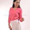 เสื้อยืด สีชมพู Sweety คอวี แขนยาว Size 2XL สำเนา