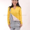 เสื้อยืด สีเหลือง คอวี แขนยาว Size M สำเนา