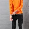 เสื้อยืด สีส้ม คอกลม แขนยาว Size 2XL