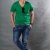 2XL เสื้อยืด สีเขียวใบไม้ คอวี แขนสั้น Size 2XL