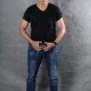 2XL เสื้อยืด สีดำ คอวี แขนสั้น Size 2XL