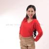เสื้อยืด สีแดง คอวี แขนยาว Size S สำเนา