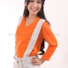 เสื้อยืด สีส้ม คอวี แขนยาว Size L สำเนา