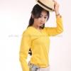 เสื้อยืด สีเหลือง คอวี แขนยาว Size XL สำเนา