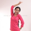 เสื้อยืด สีชมพู Pinky คอวี แขนยาว Size M สำเนา