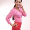เสื้อยืด สีชมพูอ่อน คอวี แขนยาว Size 2XL