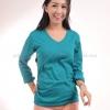 เสื้อยืด สีเขียวหยก คอวี แขนยาว Size XL