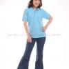 เสื้อโปโล สีฟ้าอ่อน TK Premium แขนสั้น ทรงเว้า (หญิง) Size S