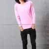 เสื้อยืด สีชมพูอ่อน คอกลม แขนยาว Size 4XL