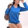 เสื้อยืด สีฟ้าทะเล คอวี แขนยาว Size 2XL