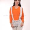 เสื้อยืด สีส้ม คอวี แขนยาว Size S