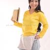 เสื้อยืด สีเหลือง คอวี แขนยาว Size 3XL