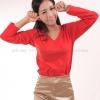 เสื้อยืด สีแดง คอวี แขนยาว Size 2XL