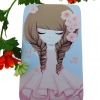 กระเป๋าใส่มือถือ iPad Tablet สีชมพู-ฟ้า ลายเด็กหญิงน่ารัก ชุดชมพู พื้นหลังฟ้า