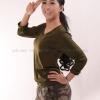 เสื้อยืด สีเขียวขี้ม้า คอวี แขนยาว Size L สำเนา