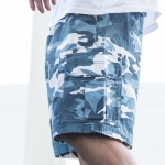 White and Blue Camo Cargo Shorts for Men - size 36