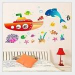 Wall Sticker ลายเรือดำน้ำและสัตว์ใต้ทะเล