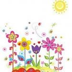Wall Sticker ลายดวงอาทิตย์และดอกไม้