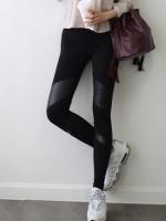 พร้อมส่ง กางเกงเลกกิ้งหนังดีไซน์ทูโทนขายาวสีดำ Leggings Skinny เกาหลี