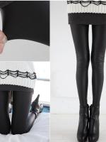 พร้อมส่ง กางเกงเลกกิ้งหนังขายาวสีดำ Leggings Skinny เกาหลี