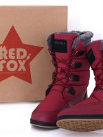 รองเท้าบู๊ทผู้หญิง Red Fox ทรงสูง สีแดง ด้านในเป็นแคชเมียร์อย่างดี ดีไซน์แบบผูกเชือก
