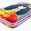 กระเป๋าใส่มือถือ iPad Tablet สีชมพู-ฟ้า ลายเด็กหญิงชุดส้ม พื้นหลังสีเทา ด้านในสีชมพู thumbnail 2