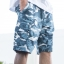 White and Blue Camo Cargo Shorts for Men - size 38 thumbnail 3