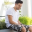 White and Brown Camo Cargo Shorts for Men - size 38 thumbnail 1