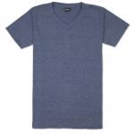 เสื้อยืดคอวีเรียบ Pv02 สีกรมฟอก