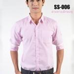 เสื้อเชิ้ตแขนยาวลายทางเล็กสีชมพู SS-006