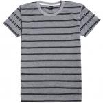 เสื้อยืดคอกลมลายทาง A003 (เส้นคู่ สีเทาดำ)