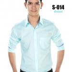 เสื้อเชิ้ตผู้ชายสีฟ้ามิ้นท์ S-014